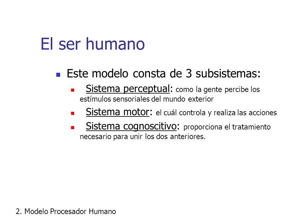 El ser humano Este modelo consta de 3 subsistemas: