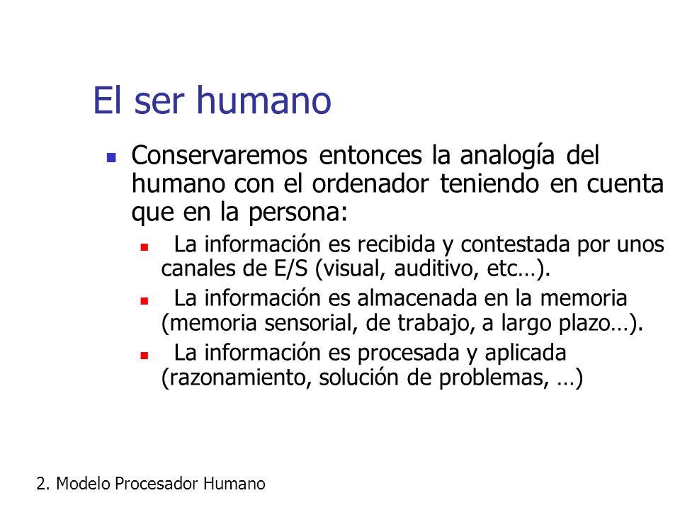 El ser humano Conservaremos entonces la analogía del humano con el ordenador teniendo en cuenta que en la persona: