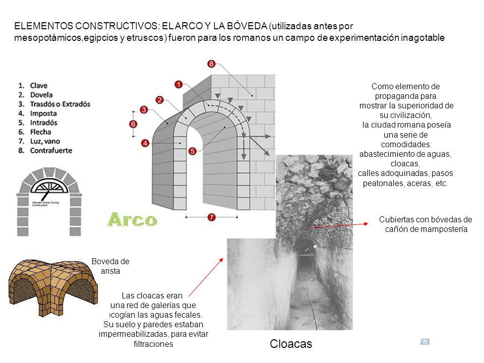 ELEMENTOS CONSTRUCTIVOS: EL ARCO Y LA BÓVEDA (utilizadas antes por mesopotámicos,egipcios y etruscos) fueron para los romanos un campo de experimentación inagotable