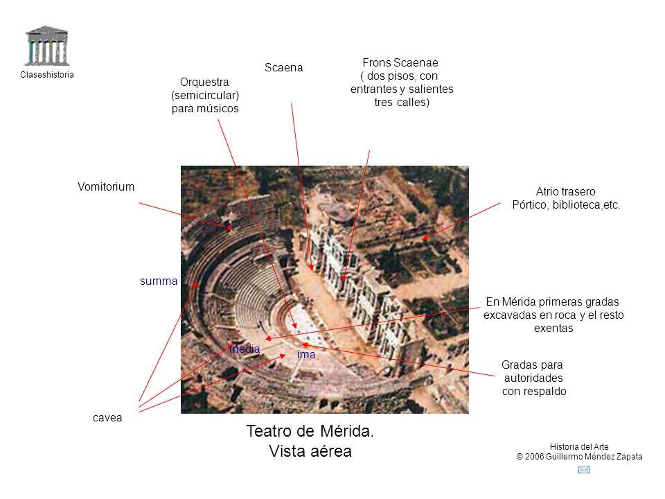 Teatro de Mérida. Vista aérea Frons Scaenae Scaena ( dos pisos, con