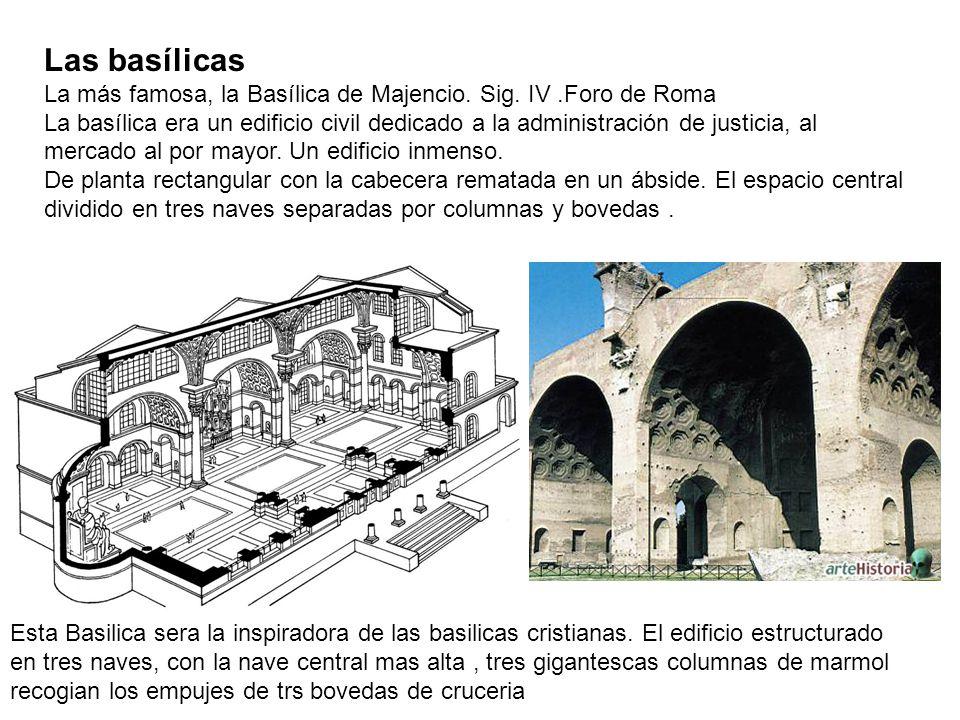Las basílicas La más famosa, la Basílica de Majencio. Sig. IV