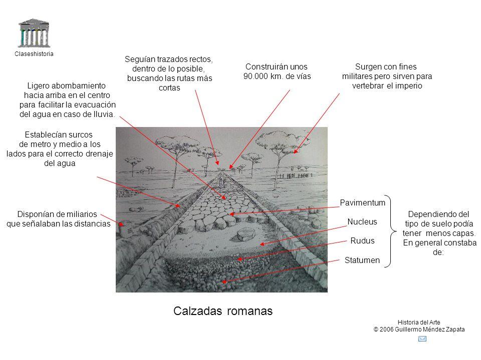 Calzadas romanas Seguían trazados rectos, dentro de lo posible,