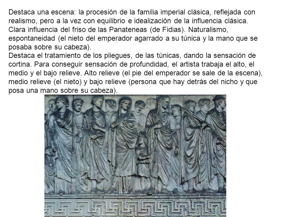 Destaca una escena: la procesión de la familia imperial clásica, reflejada con realismo, pero a la vez con equilibrio e idealización de la influencia clásica.