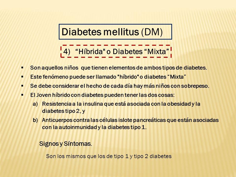 Son los mismos que los de tipo 1 y tipo 2 diabetes