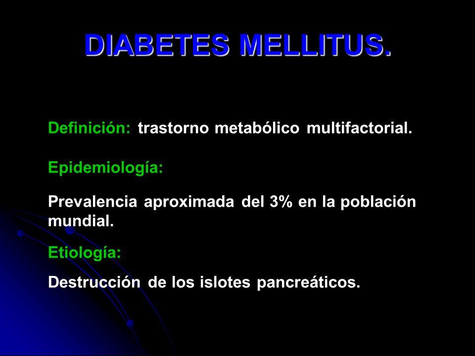 DIABETES MELLITUS. Definición: trastorno metabólico multifactorial.
