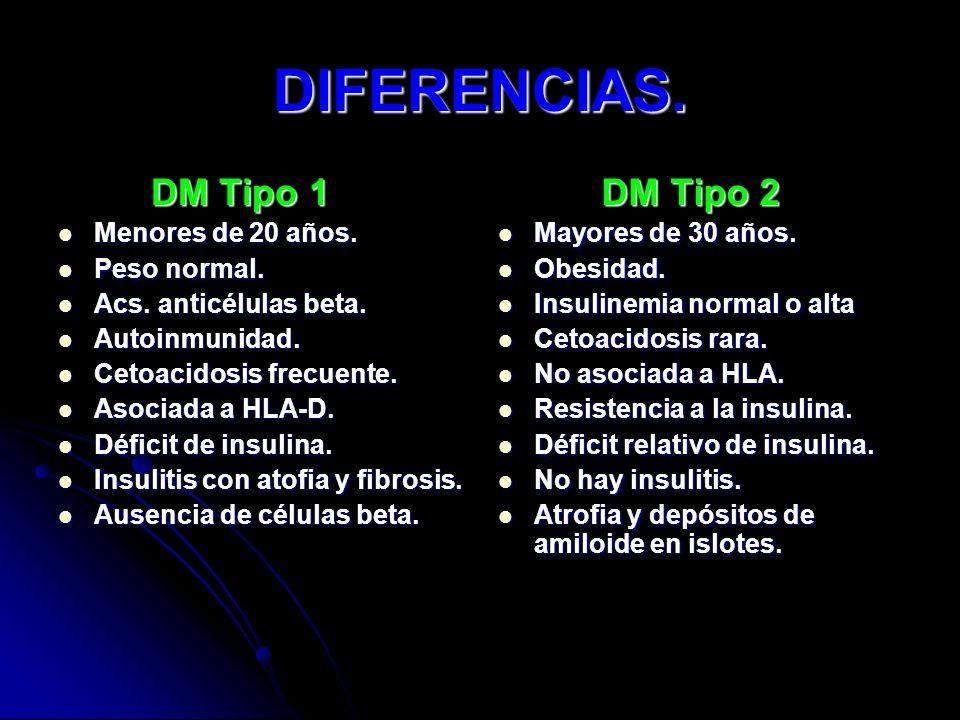 DIFERENCIAS. DM Tipo 1 DM Tipo 2 Menores de 20 años. Peso normal.