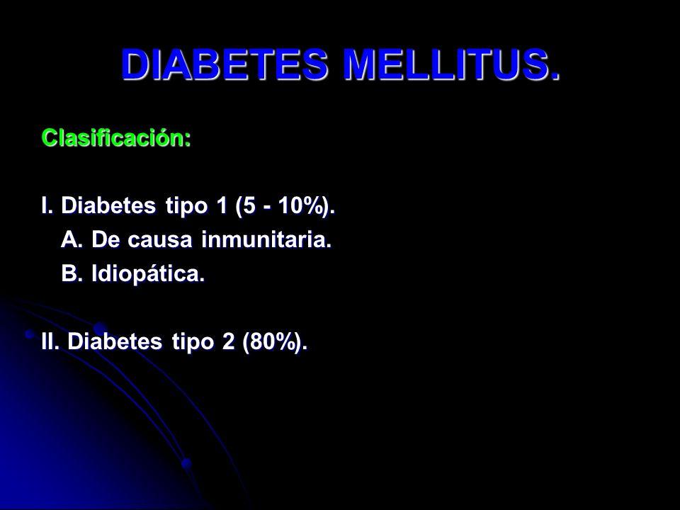 DIABETES MELLITUS. Clasificación: I. Diabetes tipo 1 (5 - 10%).