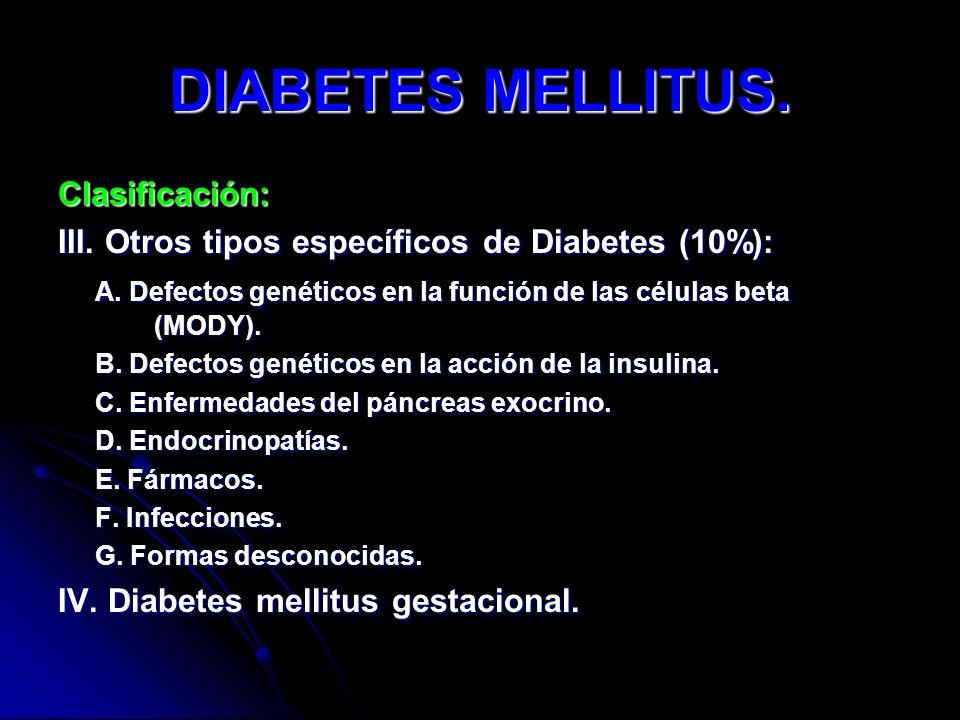 DIABETES MELLITUS. Clasificación: