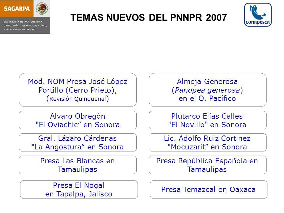 TEMAS NUEVOS DEL PNNPR 2007 Mod. NOM Presa José López Portillo (Cerro Prieto), (Revisión Quinquenal)