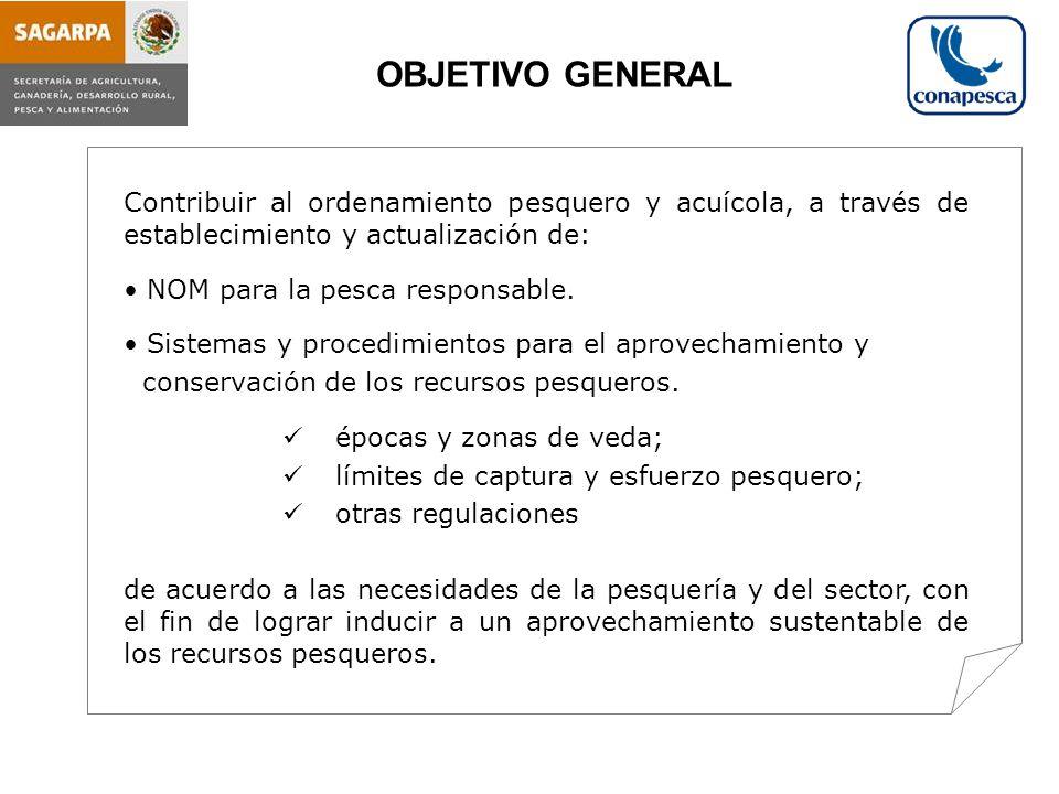 OBJETIVO GENERAL Contribuir al ordenamiento pesquero y acuícola, a través de establecimiento y actualización de: