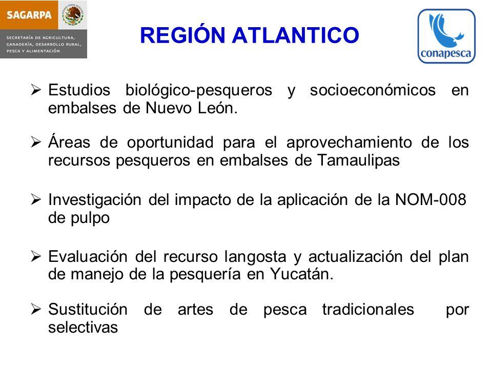 REGIÓN ATLANTICO Estudios biológico-pesqueros y socioeconómicos en embalses de Nuevo León.