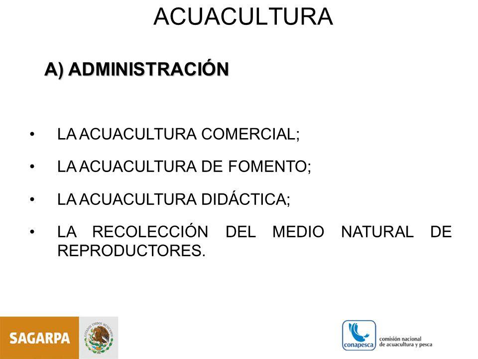ACUACULTURA A) ADMINISTRACIÓN LA ACUACULTURA COMERCIAL;
