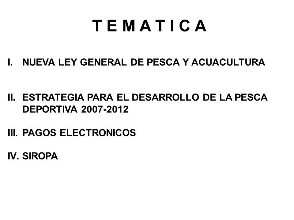 T E M A T I C A NUEVA LEY GENERAL DE PESCA Y ACUACULTURA