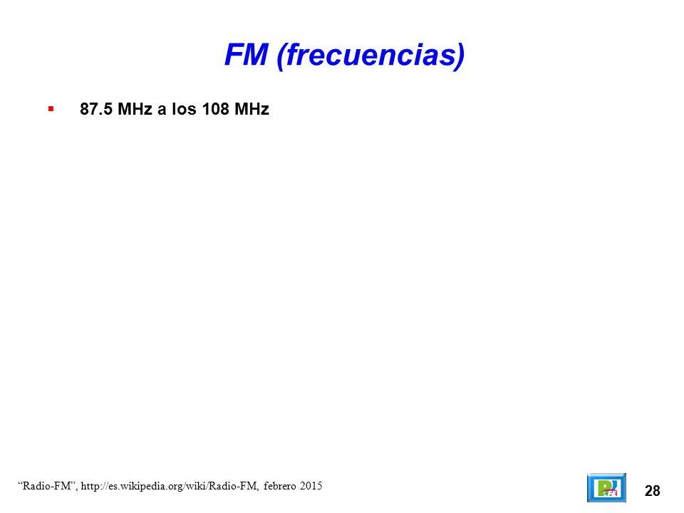 FM (frecuencias) 87.5 MHz a los 108 MHz 28