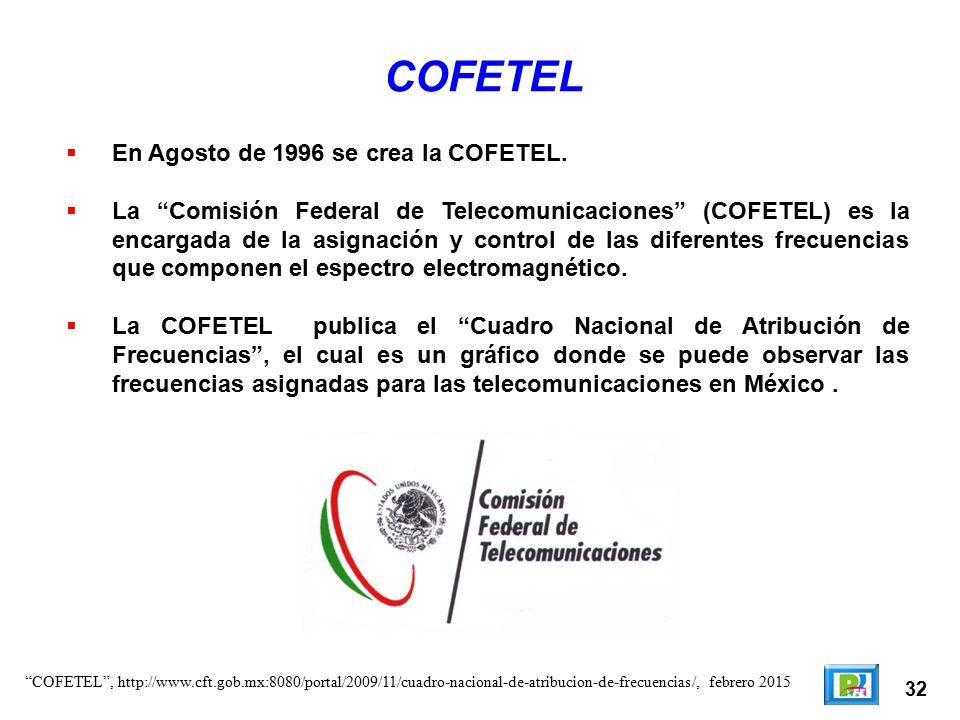 COFETEL En Agosto de 1996 se crea la COFETEL.