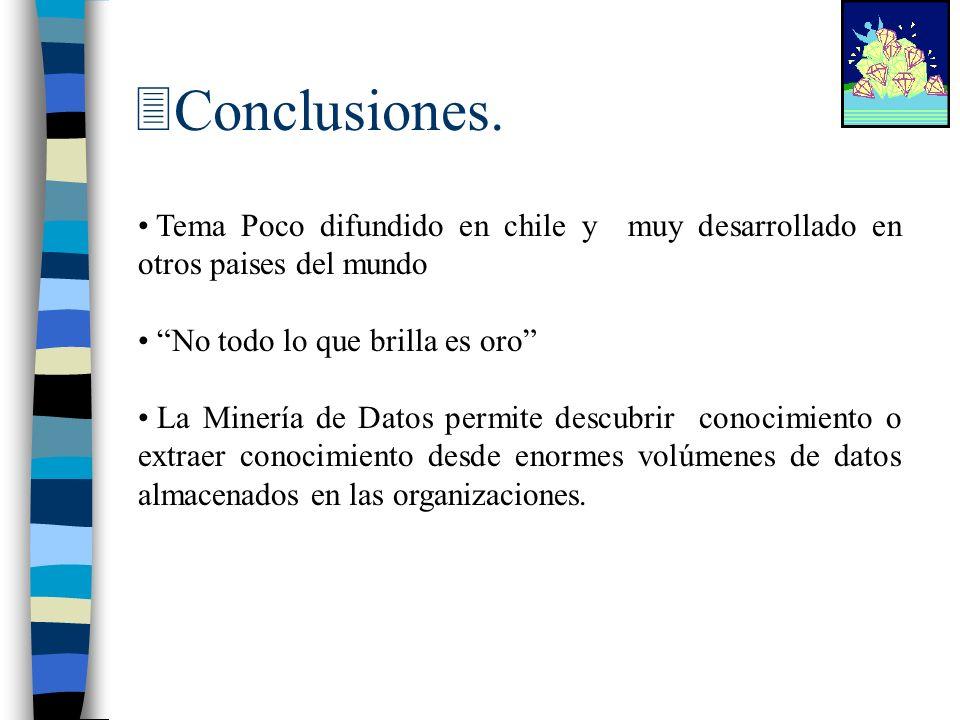 Conclusiones. Tema Poco difundido en chile y muy desarrollado en otros paises del mundo. No todo lo que brilla es oro