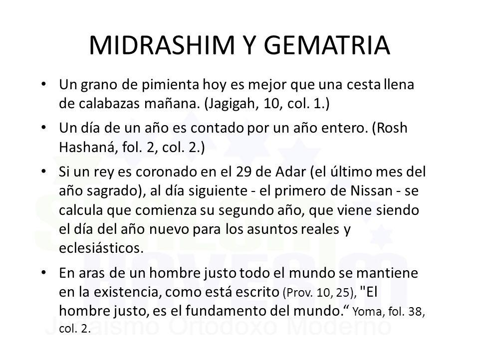 MIDRASHIM Y GEMATRIA Un grano de pimienta hoy es mejor que una cesta llena de calabazas mañana. (Jagigah, 10, col. 1.)