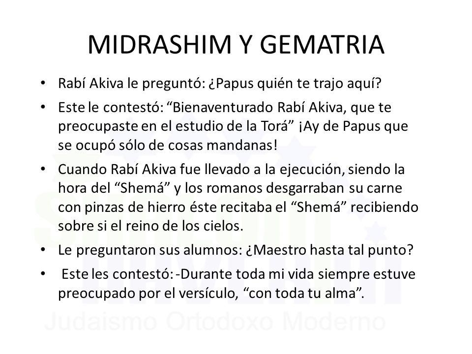MIDRASHIM Y GEMATRIA Rabí Akiva le preguntó: ¿Papus quién te trajo aquí