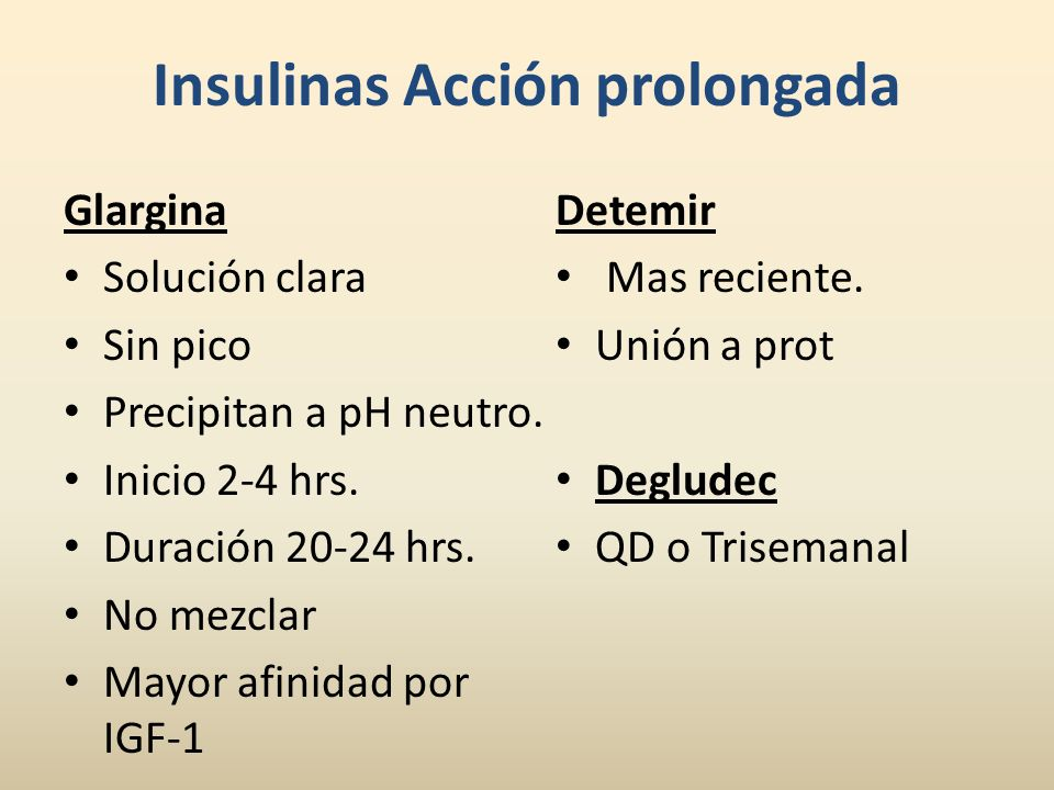 Insulinas Acción prolongada