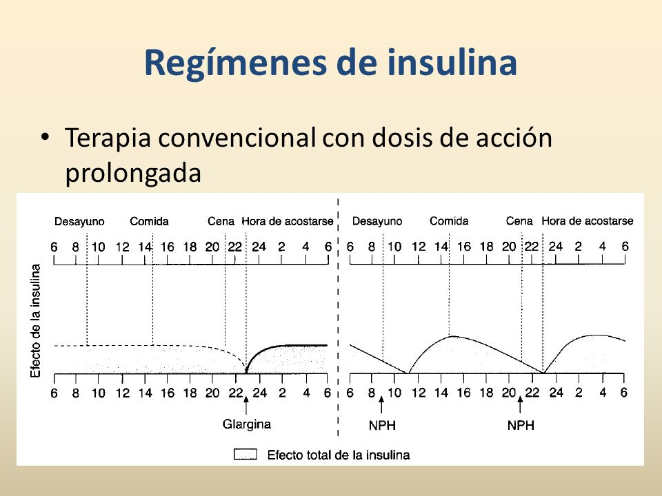 Regímenes de insulina Terapia convencional con dosis de acción prolongada