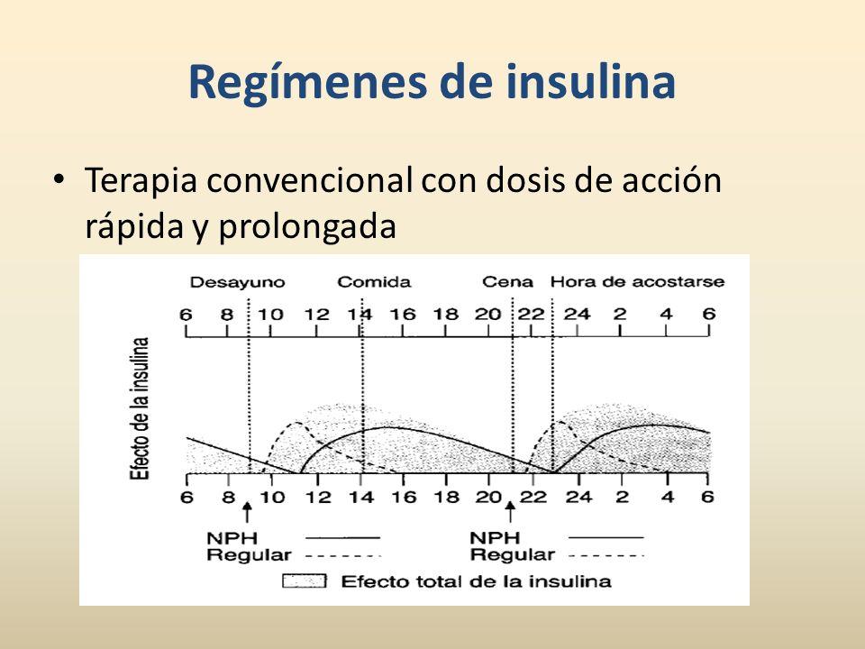 Regímenes de insulina Terapia convencional con dosis de acción rápida y prolongada