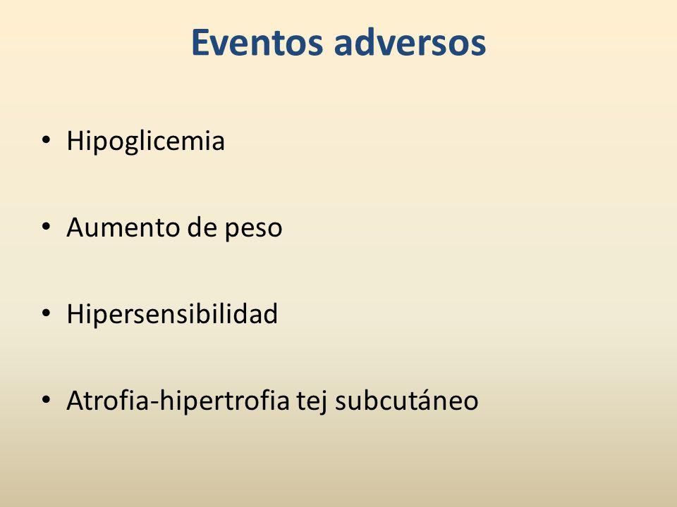Eventos adversos Hipoglicemia Aumento de peso Hipersensibilidad