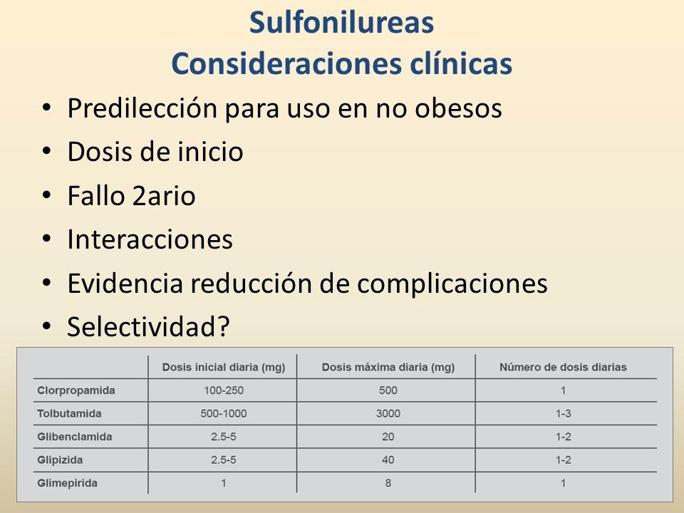 Sulfonilureas Consideraciones clínicas