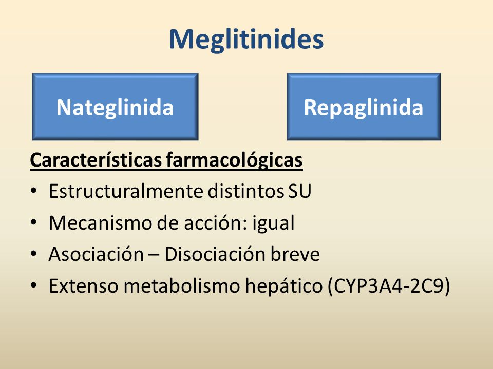 Meglitinides Nateglinida Repaglinida Características farmacológicas