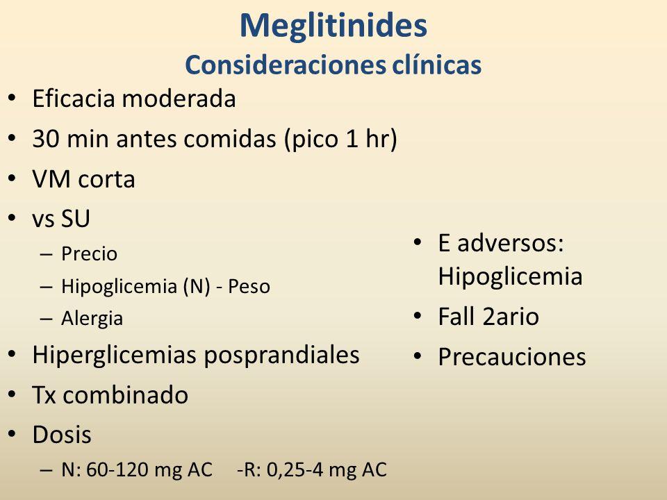 Meglitinides Consideraciones clínicas