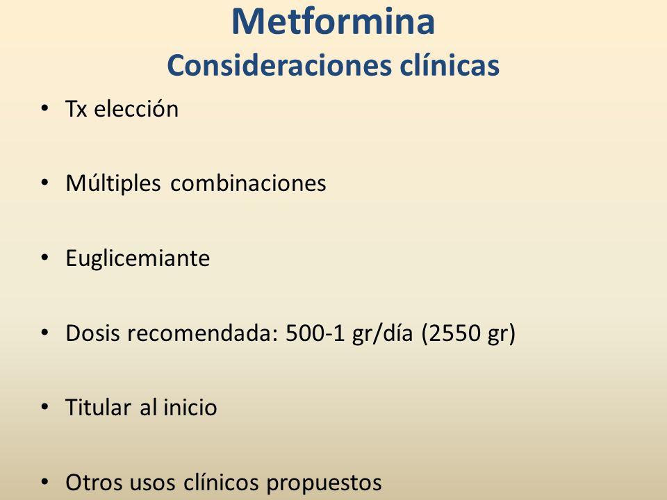 Metformina Consideraciones clínicas