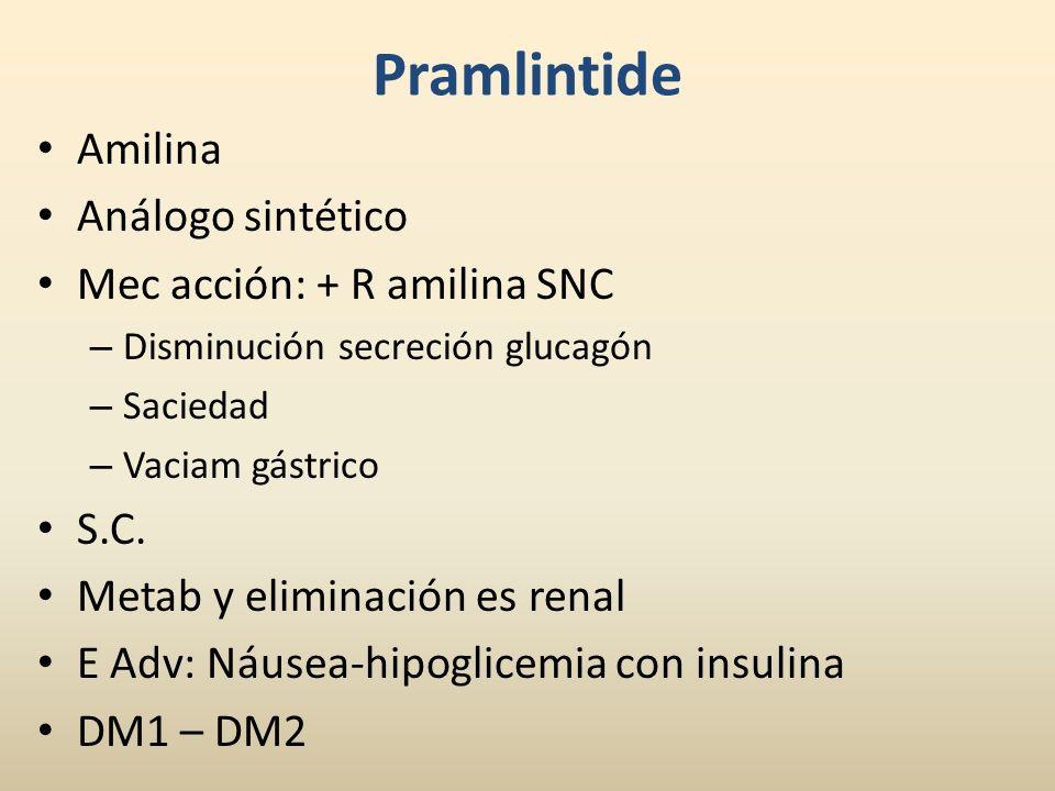 Pramlintide Amilina Análogo sintético Mec acción: + R amilina SNC S.C.