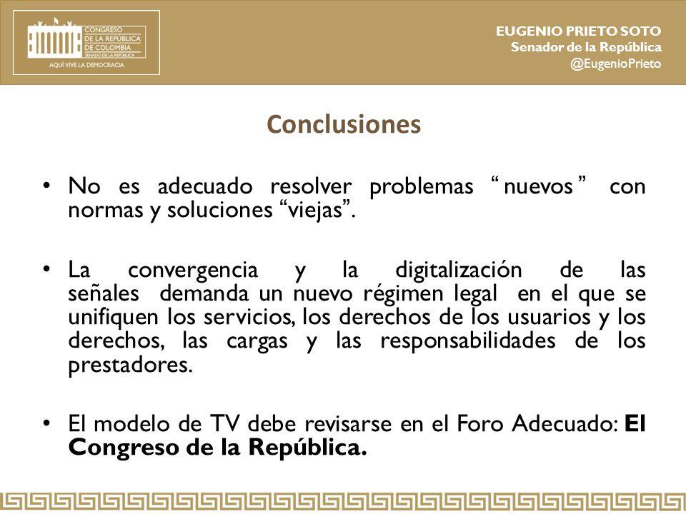 Conclusiones No es adecuado resolver problemas nuevos con normas y soluciones viejas .