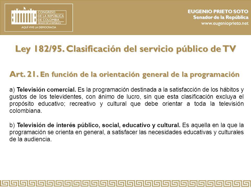 Ley 182/95. Clasificación del servicio público de TV