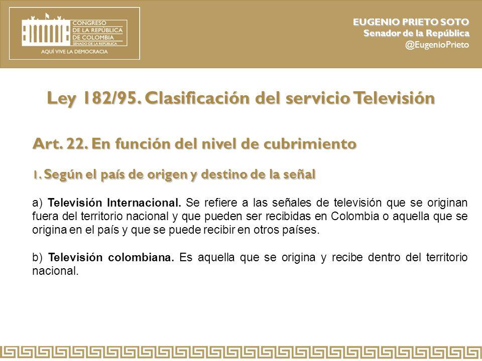 Ley 182/95. Clasificación del servicio Televisión
