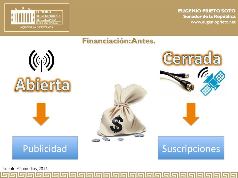 Financiación: Antes. EUGENIO PRIETO SOTO Senador de la República