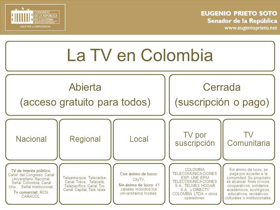La TV en Colombia Abierta (acceso gratuito para todos) Cerrada