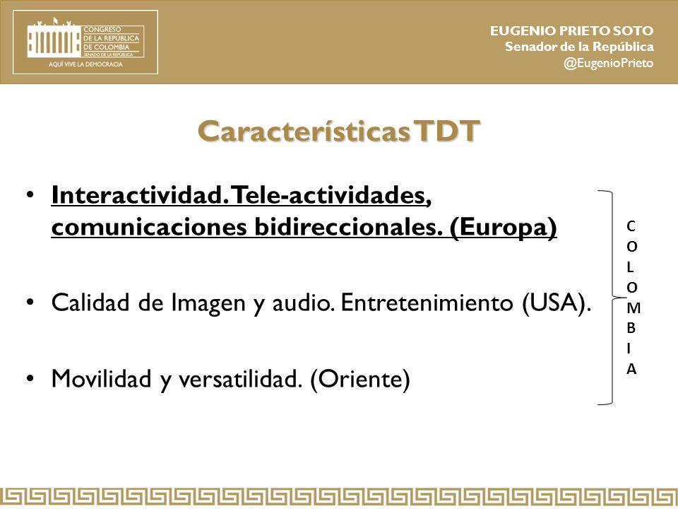 Características TDT Interactividad. Tele-actividades, comunicaciones bidireccionales. (Europa) Calidad de Imagen y audio. Entretenimiento (USA).
