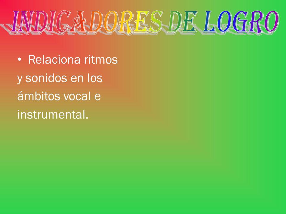 INDICADORES DE LOGRO Relaciona ritmos y sonidos en los ámbitos vocal e instrumental.