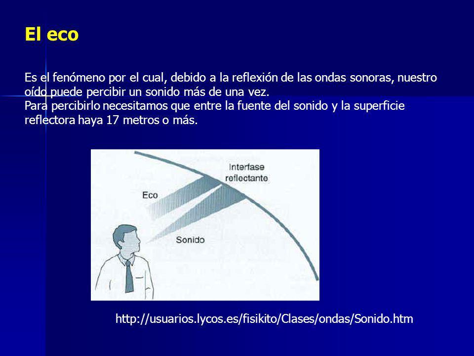 El eco Es el fenómeno por el cual, debido a la reflexión de las ondas sonoras, nuestro oído puede percibir un sonido más de una vez.