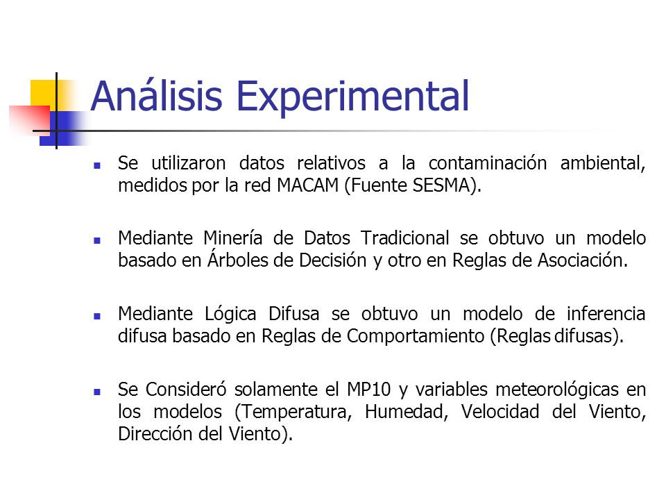 Análisis Experimental