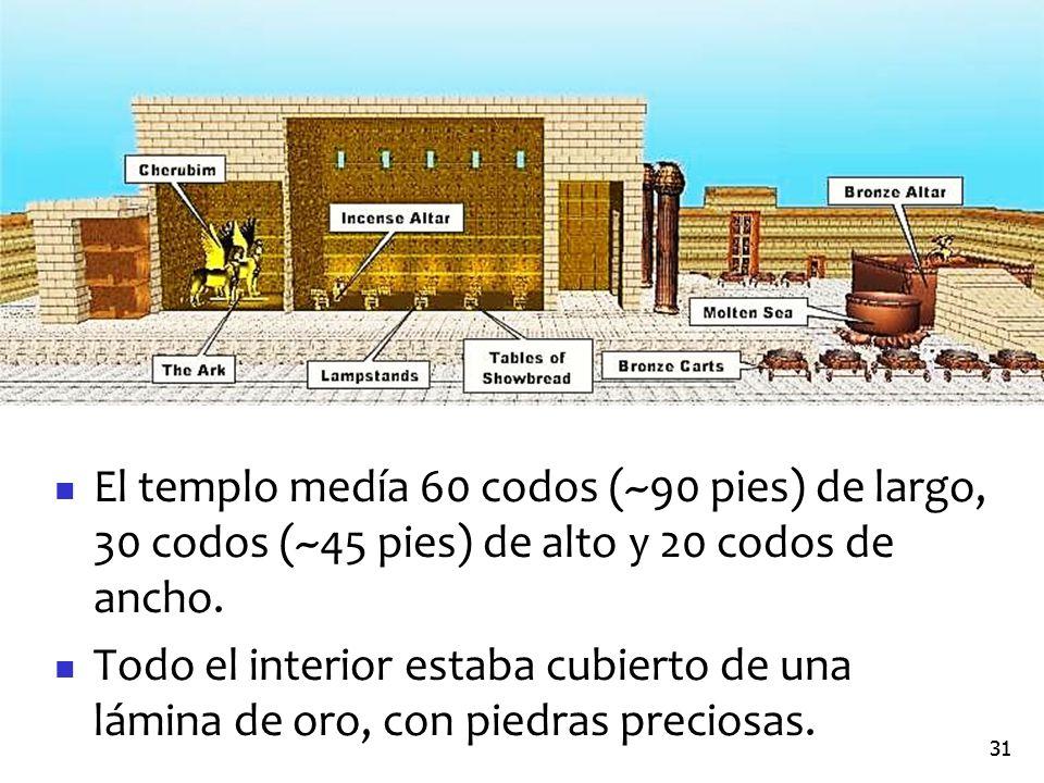 El templo medía 60 codos (~90 pies) de largo, 30 codos (~45 pies) de alto y 20 codos de ancho.