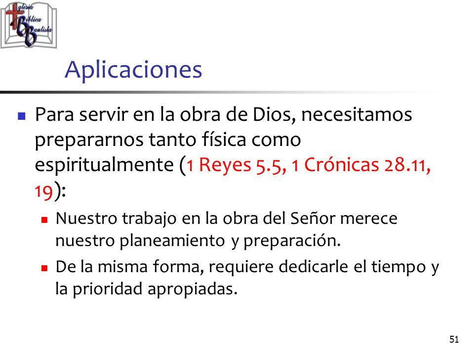 Aplicaciones Para servir en la obra de Dios, necesitamos prepararnos tanto física como espiritualmente (1 Reyes 5.5, 1 Crónicas 28.11, 19):