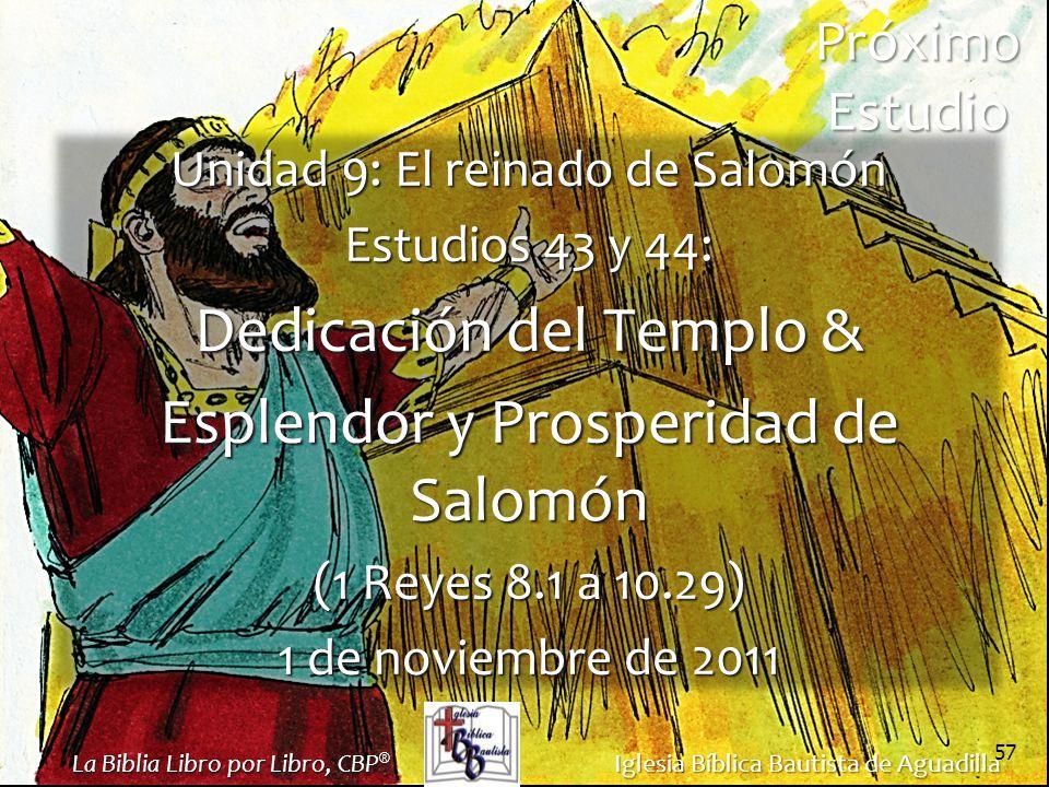 Dedicación del Templo & Esplendor y Prosperidad de Salomón