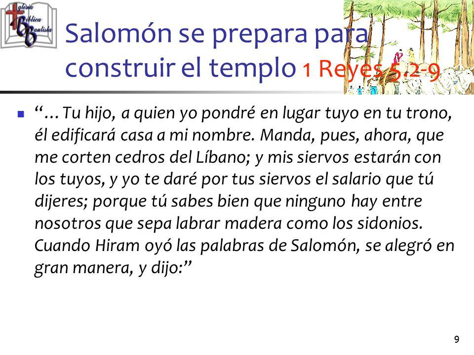 Salomón se prepara para construir el templo 1 Reyes 5.2-9
