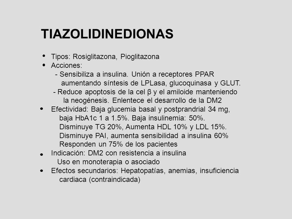 TIAZOLIDINEDIONAS Tipos: Rosiglitazona, Pioglitazona Acciones: