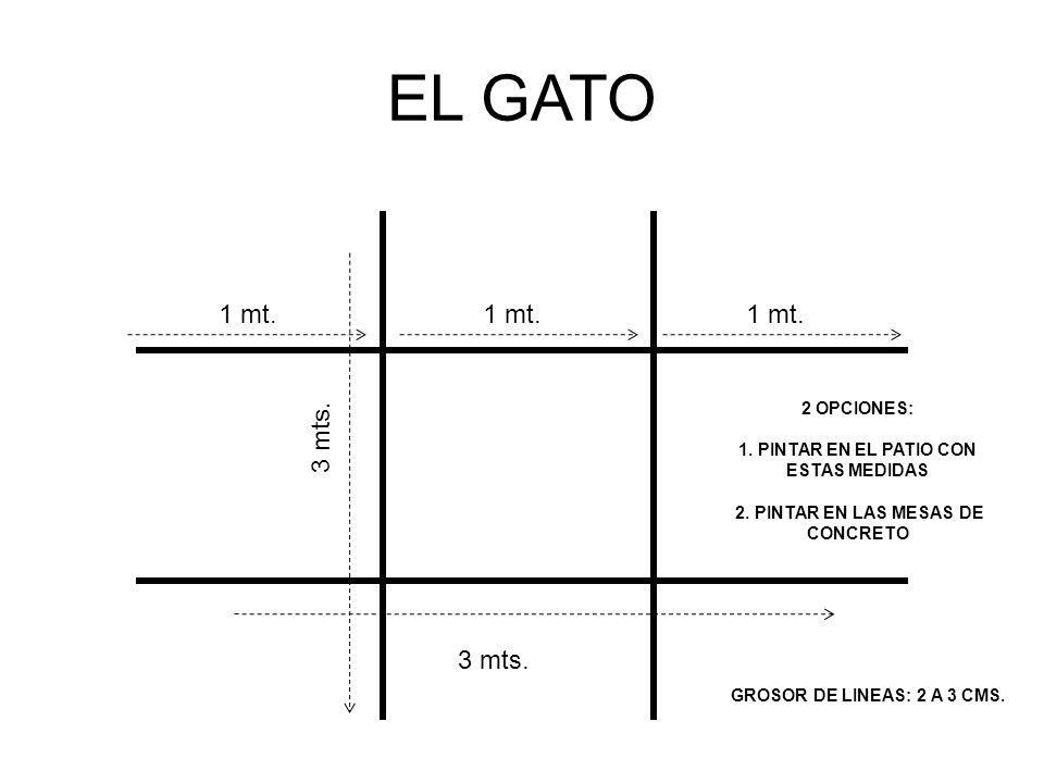 EL GATO 1 mt. 1 mt. 1 mt. 3 mts. 3 mts. 2 OPCIONES: