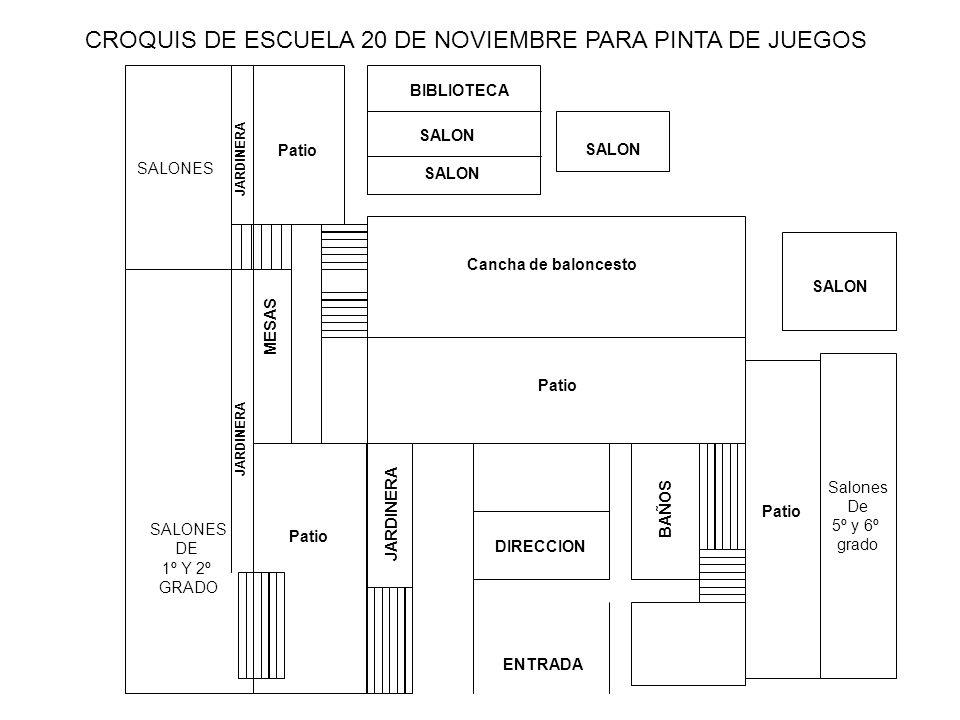 CROQUIS DE ESCUELA 20 DE NOVIEMBRE PARA PINTA DE JUEGOS