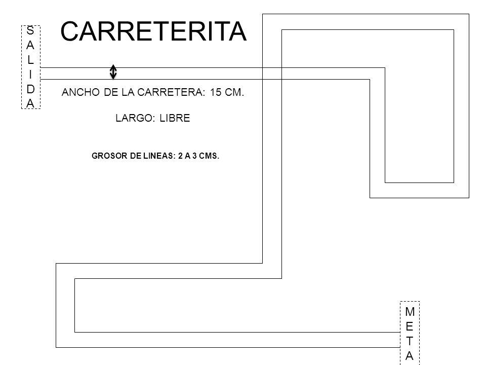 ANCHO DE LA CARRETERA: 15 CM.