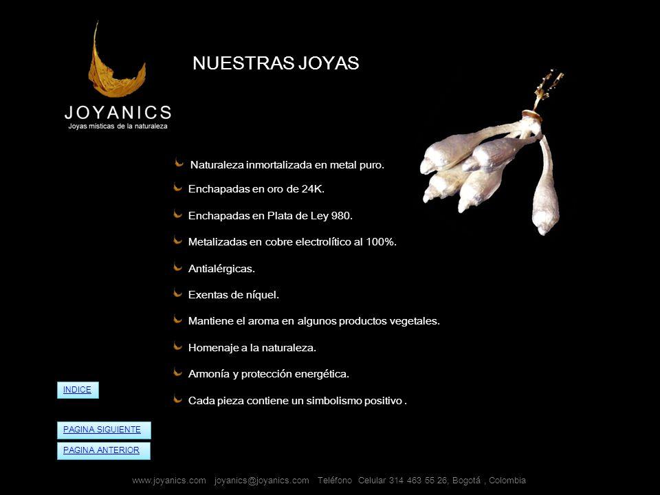 NUESTRAS JOYAS Naturaleza inmortalizada en metal puro.