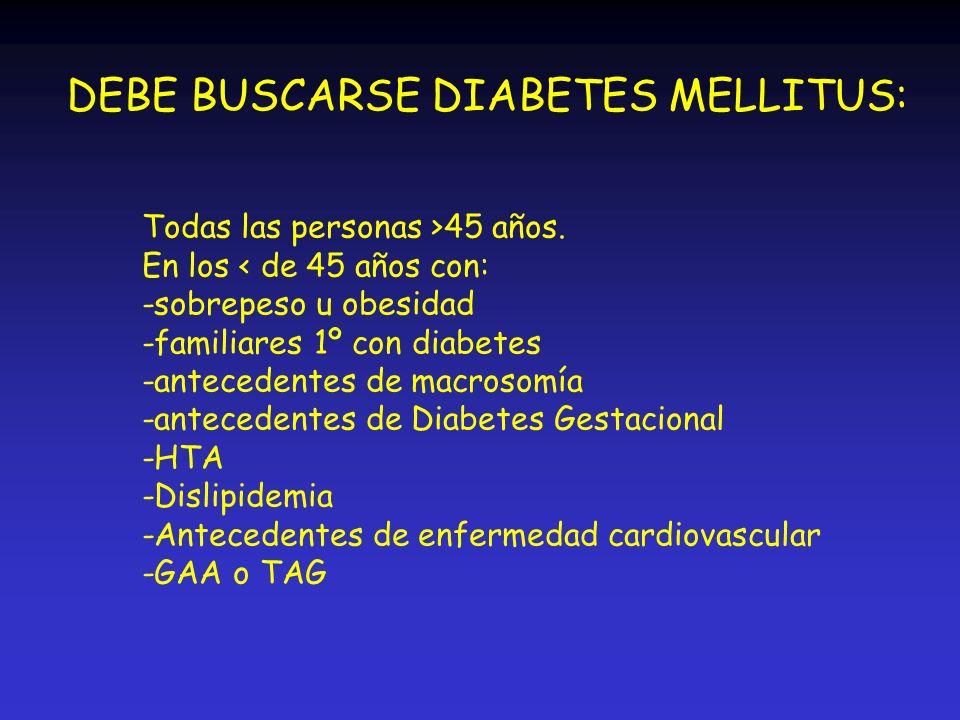 DEBE BUSCARSE DIABETES MELLITUS: